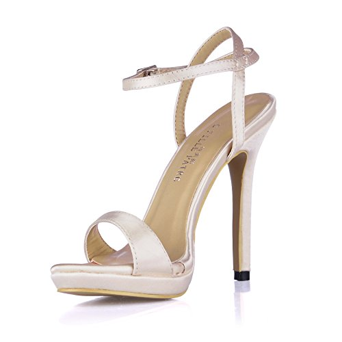 Simple Fashion Womens Open Toe High Heeled Pumps Stiletto Shoes SM00601 Silk White Tt40PMVfQy