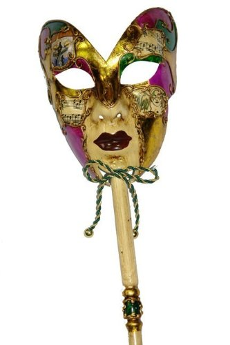 Venetian Musical Carnival Mardi Gras Masquerade Mask on a Stick Style (Mardi Gras Masks On A Stick)