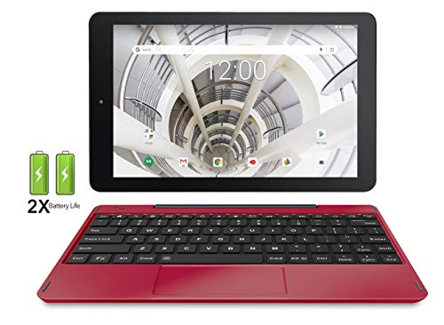 RCA 10.1 HD IPS 32GB Quad-Core Tablet w/Extended Battery Keyboard Android 8.1 (10 inch, Burgundy)