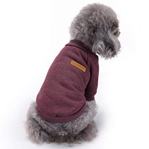 Bwealth Dog Clothes Soft Pet Apparel Thickening Fleece Shirt Warm Winter Knitwear Sweater for Small and Medium Pet (S, Brown)