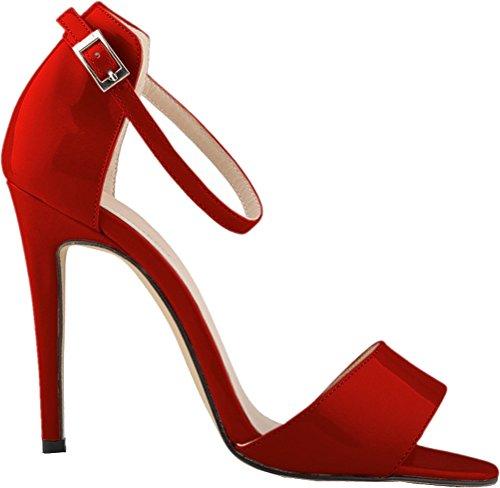 37 OL Wine Open 2QP EU Bride Ankle Bridesmaid Party Ladies Sandals 102 PU Straps Simple Nightclub Wedding Job Heeled Toe qFTwUdt
