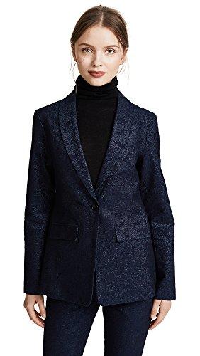 J Brand Women's Layla Blazer, Navy Floral Jacquard, Large by J Brand Jeans