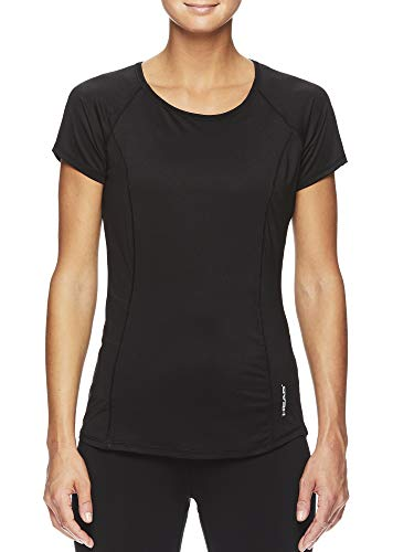 HEAD Women's Prime Raglan Short Sleeve Workout T-Shirt - Marled Performance Crew Neck Activewear Top - Prime Black, Large