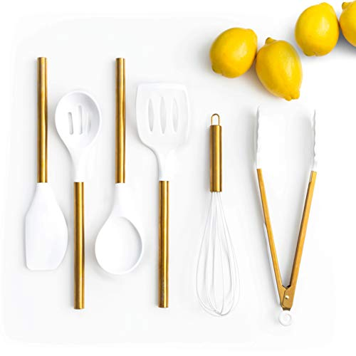 White Silicone and Gold Cooking Utensils for Modern Cooking and Serving, Stainless Steel Gold Serving Utensils - Spatulas for Non Stick Cookware -