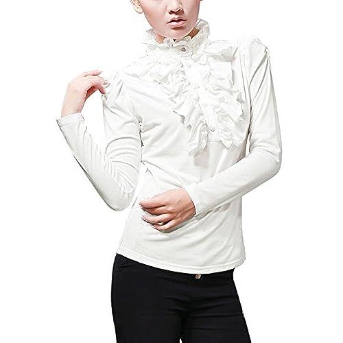 af1a583dc2d77 Allegra K Women Ruffled Front Decor Button up Long Sleeve Blouse
