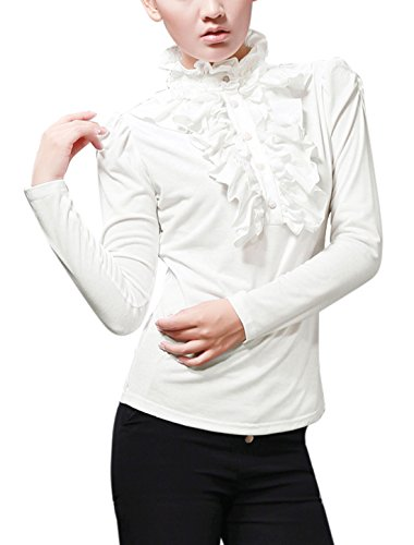 Button Cuff Ruffled Blouse - 6