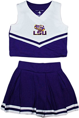 Louisiana State University LSU Tiger Eye Toddler and Youth 2 Piece Cheerleader Dress Purple]()