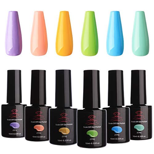 Makartt UV Gel Nail Polish Set Macaron Colors LED Gel Nail Kit 6 Bottles Soak Off Gel Summer Colors 10 ml with Gift Box P-17