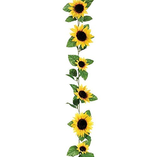 SeaISee Silk Sunflower Garland in Yellow 6' Long with 10 -