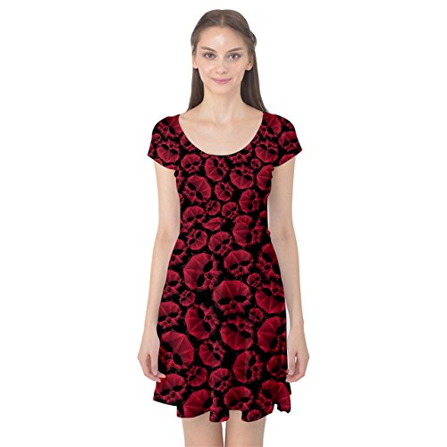Contemporary Dress Patterns (CowCow Black Red Skulls Pattern Geometric Contemporary Style Repeating Cap Sleeve Dress, Black-2XL)