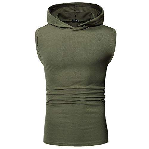 Fashuion!! SFE Men Summer Shirts,Men's Vest Jacket Sport Casual Sleeveless Contrast Hoodie Top Blouse Green