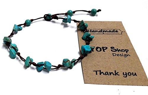 - Stone Blue Turquoise Color Bead Anklet or Bracelet Beautiful 26 cm.Handmade for Women Teens and Girls