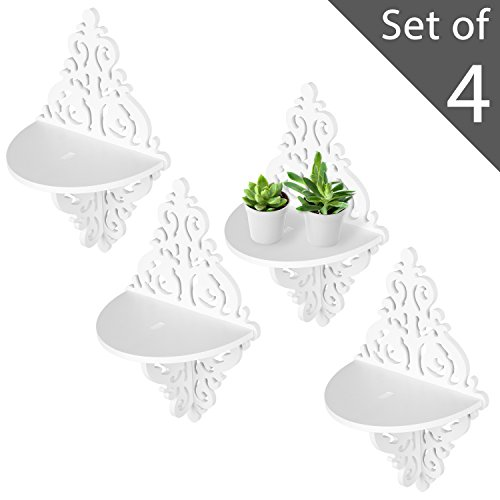 MyGift Wall Mounted Floating Shelves, Display Stand Rack w/Ornate Scrollwork Design, White, Set of - Plant Carved Stand