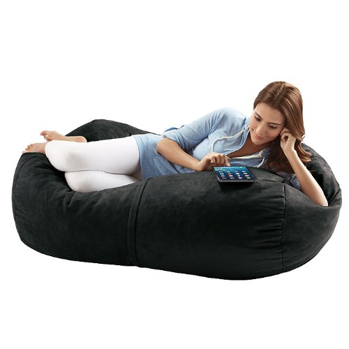 Jaxx Sofa Saxx 4 Foot Bean Bag Lounger Black Microsuede