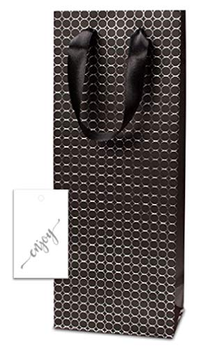 Black Embossed Dots Wine Bags with Handles (12 Pack) and Hang Tags