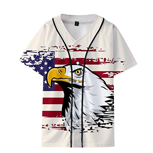 - refulgence American Freedom Eagle Cross Flag Military Army Mens T-Shirt Baseball Uniform Jacket Loose Casual Shirts(Beige,XL)
