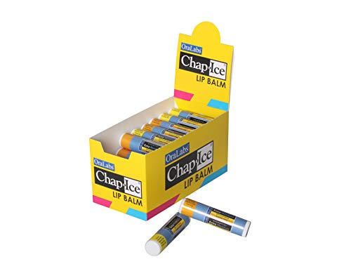 Chap-Ice | Essential Extra Moisture SPF-15 Sunscreen Lip Balm - Assorted Flavors (Almond Swirl, Vanilla Mint) - Made in the USA - 32 Count Display