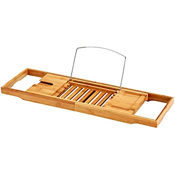 Amazon.com: Bathtub Caddy - Bamboo Bath Caddy, Luxury Bathtub Tray ...
