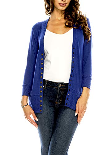 Women's V Neck Cardigan Snap Button 3/4 Sleeve Sweater with Ribbed Detail Collection Plus Size [S-3X] Royal Small