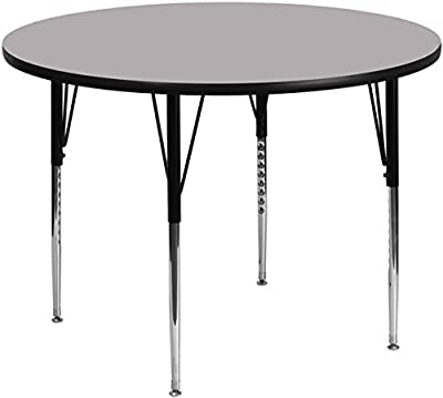 Flash Furniture Round Activity Table with Grey Thermal Fused Laminate Top/Height Adjustable Standard Legs