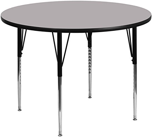 Office Round Activity Table - Flash Furniture 42'' Round Grey Thermal Laminate Activity Table - Standard Height Adjustable Legs