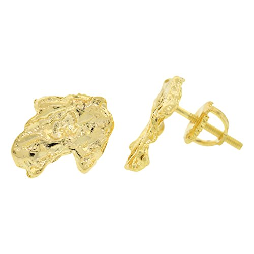 Gold Nugget Design (Men's Gold-Plated Sterling Silver Nugget Design Stud Earrings)