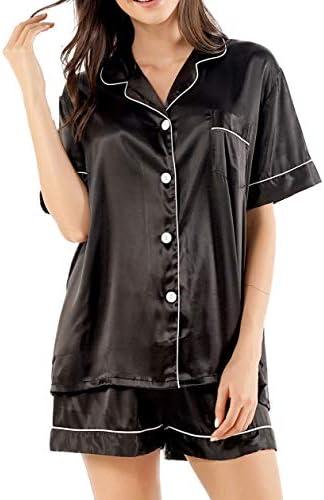 GAESHOW Satin Pajamas for Women, Short Sleeve Silk Pajama Set with Shorts Two Piece Pj Sets Button-Down Sleepwear Loungewear