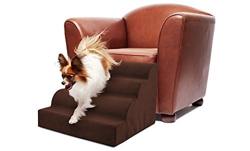 Precious Tails Brown Pet High Density Foam Scalloped Pet Ramp 4-Steps Stairs with Zipper Removable MicroSuede Cover 16