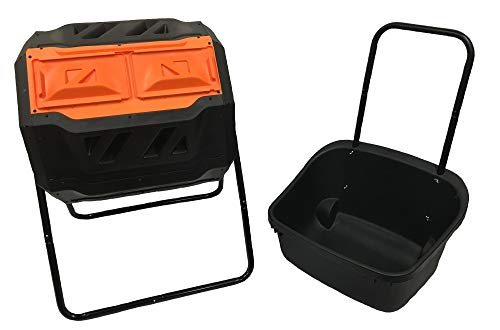 Riverstone Industries GEN-C42-OR-C Compost Tumbler with Cart, Black and Orange