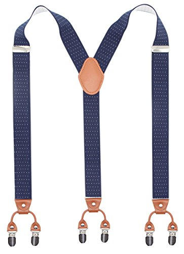 Bioterti Men's Y-Shaped Heavy Duty Suspenders - 6 Metal Clips, Elastic Straps (Navy (6 Pair Pack Navy Accessories)