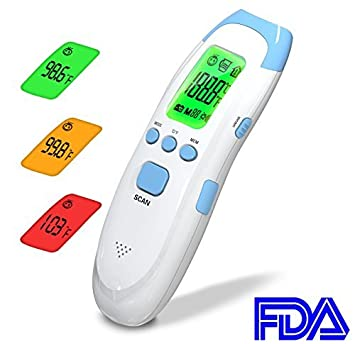 Amazon.com : Forehead Thermometer, Memorize Multiple Temperatures, Temperature Warning, Infrared Digital Thermometer, for Baby, Infant, Toddler and Adults ...