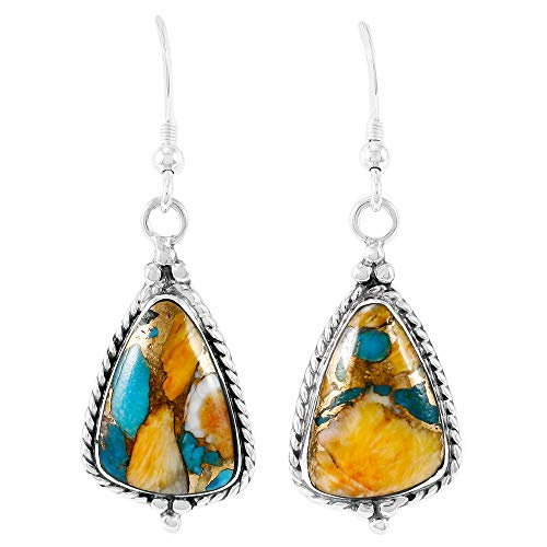 - 925 Sterling Silver Earrings Genuine Turquoise Drop Dangles (LARGE Spiny Turquoise)