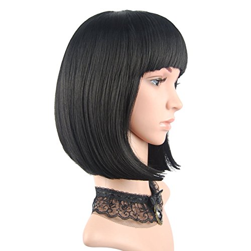 [eNilecor Straight Short Hair Bob Wigs 12'' with Flat Bangs Cosplay Synthetic Wigs for  Women Natural As Real] (Black Bob Wig With Bangs)
