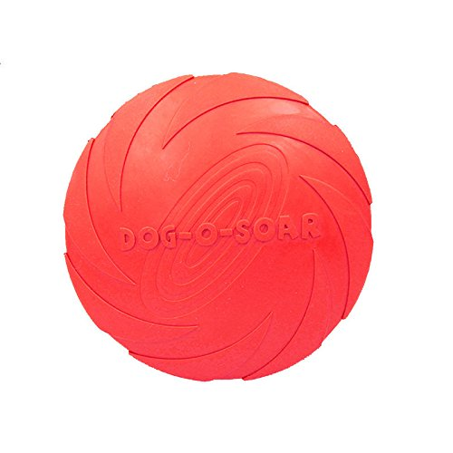 Dog Silicone Frisbee - Red - Cute Pet Flying Disc, Tooth Resistant, Outdoor Training, Fetch Toy - 6'
