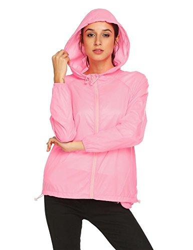 Up FASHION4OL Solid Skin Zip Outdoor Lavender Thin Women Hooded Lightweight Anti Sport Jacket Dry Quick UV SrxSvP4wq