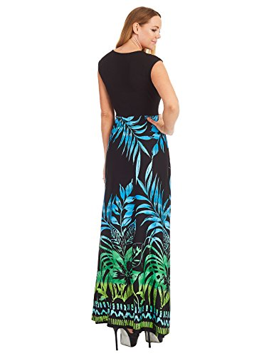 Contrast Love Lock Print and in Sleeveless Wdr1390 Empire Womens green Maxi LL Dress Made USA Line qxHxTXR