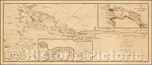 Historic Map - Part of Lake Ontario and of the River St. Lawrence from an actual Survey, 1818, John Walker - Vintage Wall Art 84in x 36in (Map Of Lake Ontario And St Lawrence River)