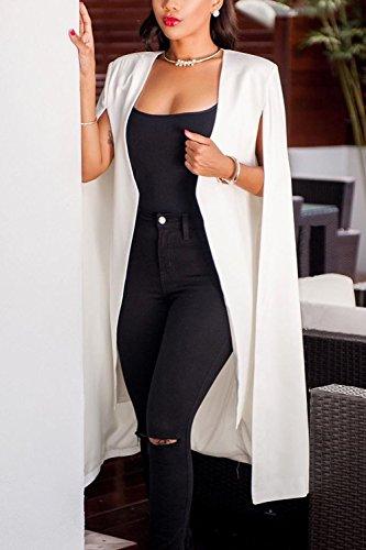 Las Mujeres Elegantes Trajes De Negocios Sólido MIDI Capa Outwear White