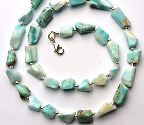 1 Strand Natural Larimar Faceted Nugget Beads 19 Inch Full Strand 6 to 8MM Broad and 9 to 16MM Long Nuggets by Gemswholesale ()