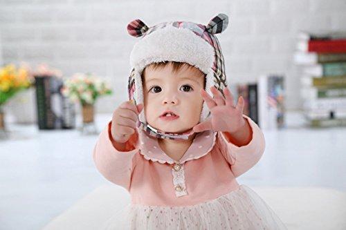 Beanie Chapeaux Chaud Ahatech Enfants Hiver Infant Casquettes Rose Hem Bébé Earflap Mignon Imprimé Fleece Unisexe Vérifier xRHzp