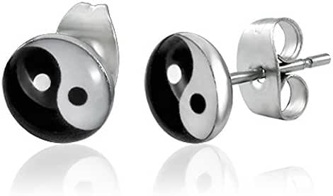 7mm Stainless Steel Yin-Yang / The Tao Circle Small Stud Earrings