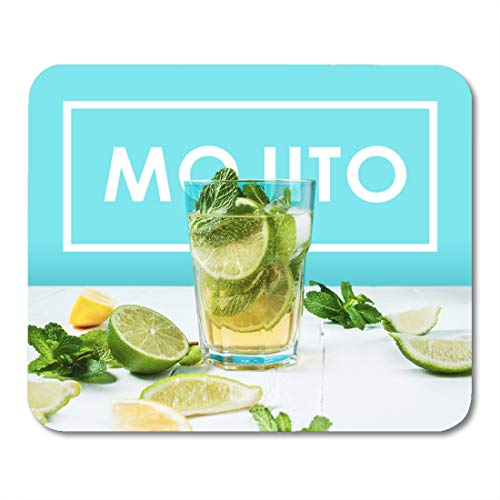 Highball Beverage (Nakamela Mouse Pads Green Alcohol Mojito Cocktail with Lime and Mint in Highball Glass on Wood Table Blue White Alcoholic Mouse mats 9.5