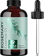 Undiluted Rosemary Essential Oil with Dropper - Topical Rosemary Oil for Hair Skin and Nails and Refreshing Aromatherapy Oils for Diffuser - Pure Rosemary Essential Oils for Diffusers for Home 4oz