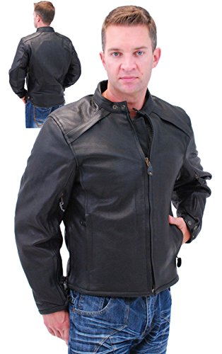 Jamin' Leather Naked Leather Vented Scooter Jacket w/Removable Armor (XL)
