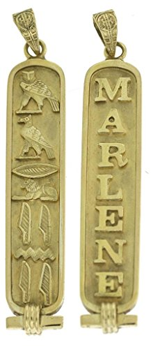 Egyptian Cartouche Pendant - Discoveries Egyptian Imports - Personalized 18K Gold Cartouche - Double-Sided Custom Pendant - Made in Egypt - Size: Large