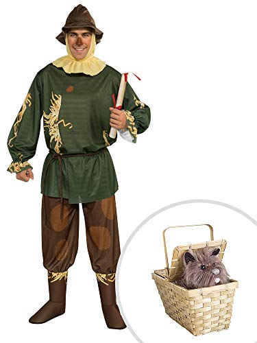 Wizard of Oz Scarecrow Costume Kit Adult Standard with Toto in Basket Deluxe -