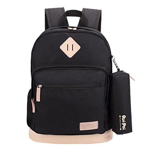 ABage Unisex School Backpack Waterproof Bookbag Travel College Travel Backpacks, - Leather Black 5th Womens