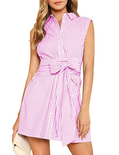 Verochic Women's Cute Tie Front Sleeveless Striped Belted Button up Summer Short Shirt Dress (Pink, Large) (Belted Sleeveless Shirt)