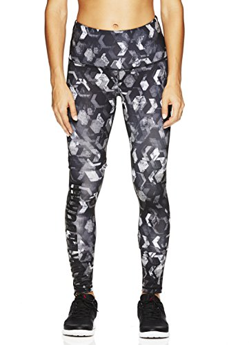 Reebok Women's Legging Full Length Performance Compression Pants- Respect Printed Black - High Rise/Black, Medium