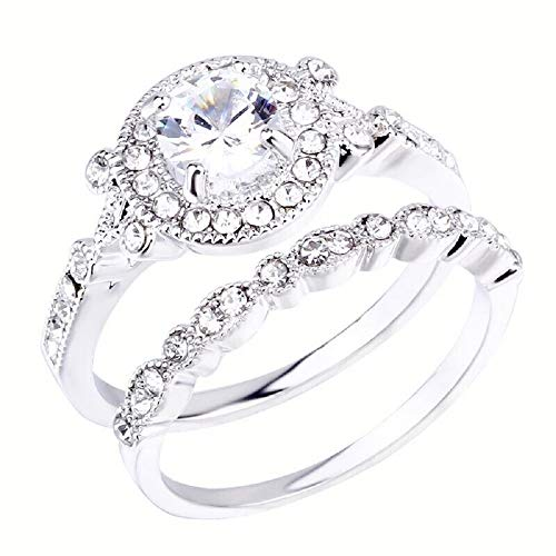 - i&D Jewelry Wedding Rings Engagement Rings for Women Anniversary Promise Ring Bridal Sets Silver Plated 1.5ct X Infinity White Cubic Zirconia CZ Ring Size 6-12 (6)